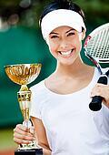 Female tennis player won the tournament