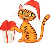 Tabby red cat gives a gift