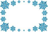 Christmas decorative frame of blue snowflakes. On a white background.