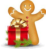 Gingerbread Man With Red Gift Box