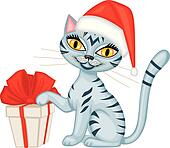Winter tabby cat with a gift