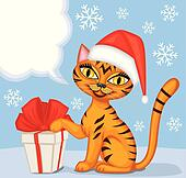 Tabby cat wishes Merry Christmas
