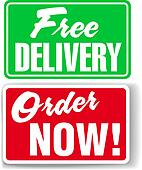 Free Delivery Order Now website ad icons signs