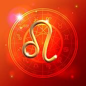 Zodiac Leo golden sign