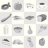 Food icons in black and white