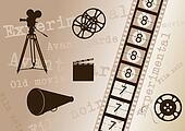Movie camera, film strip, director clapper, megaphone and film roll - vintage