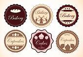 Set of Retro Bakery Labels