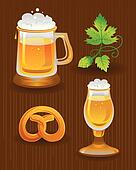 Collections for Octoberfest. Beer, hops and pretzel