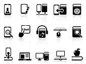 digital books and e-books icons