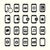 Mobile phone, smartphone icons set