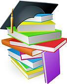 Education book pile graduation hat