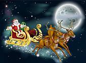 Santa on Delivering Gifts