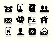 Contact icons set - mobile, user