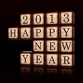 Happy New Year 2013 in 3d wooden cubes