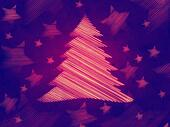 retro violet background with christmas tree and stars