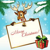Christmas Deer with the gift. Greeting card.