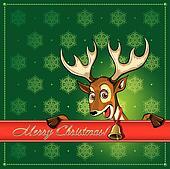 Christmas Deer. Greeting card.