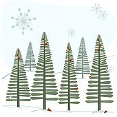 Snowflakes and trees