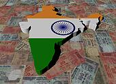 India Map flag on Indian Rupees illustration