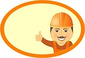 builder showing thumb up and smile