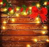 Christmas background with garland on a wooden wall