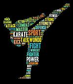 Martial arts info-text graphics and arrangement word clouds conc