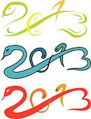 2013 new year, snake sketch vector