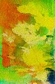 Abstract textured background: orange, blue, and green patterns on yellow backdrop