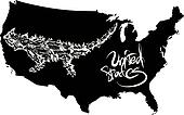 Horned lizard and U.S. outline map