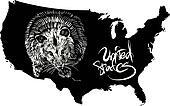 Opossum and U.S. outline map