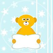 Cute smile lemur with empty blank. winter card