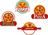 Italian pizza banners and emblems