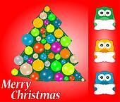 merry christmas card design. cute owls with blank card