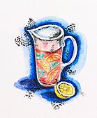 Jug with lemonade and lemon still life, watercolor with slate-pencil painting