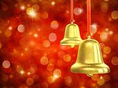 Golden christmas bells on red sparkly background