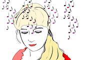 Listening  woman of musics,bright hairs