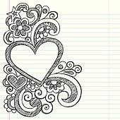 Heart Sketchy Doodle Picture Frame