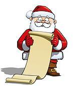 Santa Holding a Gift List