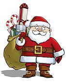 Santa Holding a Gift Sack