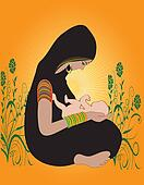 Illustration of an Indian Hindu Mother with kid