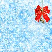Abstract snowy background with snowflakes, stars and red bow
