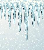 vector icicles and falling snow