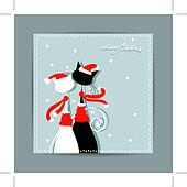 Merry Christmas! Postcard design with couple of santa cats