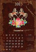 Retro vintage calendar for 2013, december