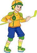 Man Playing Hockey, illustration