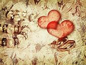 Vintage love background with wedding rings