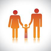 Happy family of father, mother & son together. The colorful graphic contains parents and their child holding hands together forming a nuclear family.