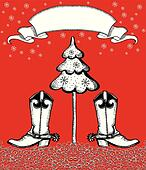 red christmas card with cowboy boots and fir-tree.Celebrate image for text