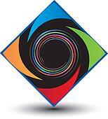Diamond swirl and colorful logo