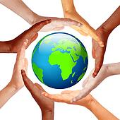 Hands around earth, international friendship